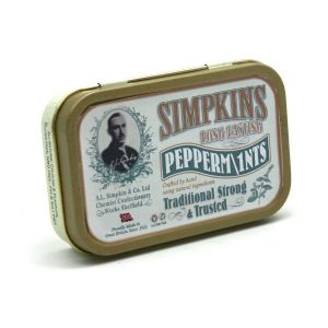 Long Lasting Strong Peppermints - Simpkins Traditional Glucose Travel Sweets Small Gift Tin 40g